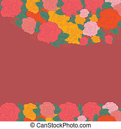 Bright floral card with roses, vector illustration