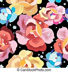 bright floral pattern on a black background