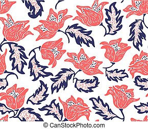 bright floral pattern with red flowers on a white background