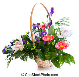 Bright flower bouquet in basket isolated on white