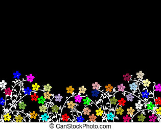 Many beautiful bright flowers on black background, with space for your text, vector illustration