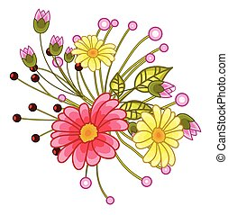 Bright Flowers Bunch Vector Illustration