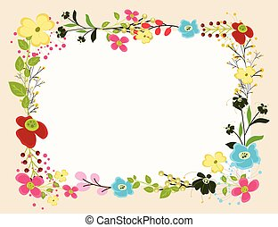 Bright Flowers Frame Vector