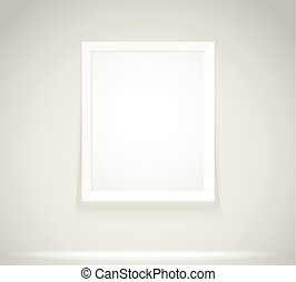Bright frame on the wall. Photoreal picture frame vector illustration
