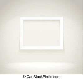 Bright frame on the wall. Photoreal vector illustration