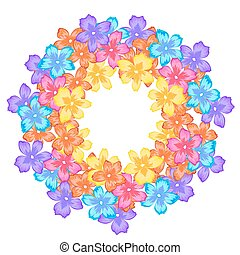 Bright frame with flowers, circle