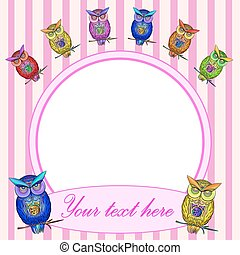 Bright Frame with owl in vector