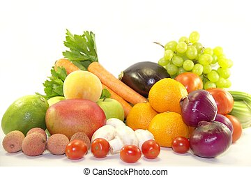 Bright fresh fruits and vegetables isolated on white background