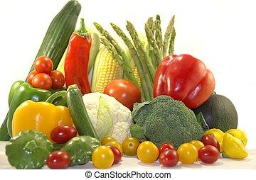 Bright fresh vegetables on white background