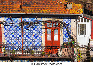 Front Door and Azulejo Wall of Old House in Porto