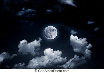Bright full moon in the starry sky