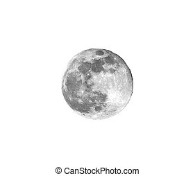 Bright full moon with visible craters on a white background at night from Europe