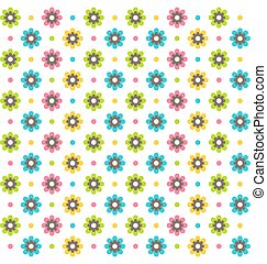 Bright fun abstract seamless pattern with flowers isolated on white