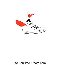 Bright fun sports shoes in love with a bird