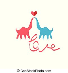 Bright funny greeting card with in love kissing dinosaurs