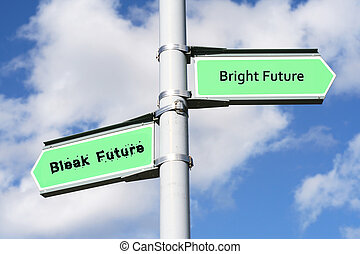 Street post with Bright Future, Bleak Future signs.