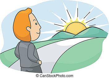 Bright Future - Illustration of a Man Walking Towards a...
