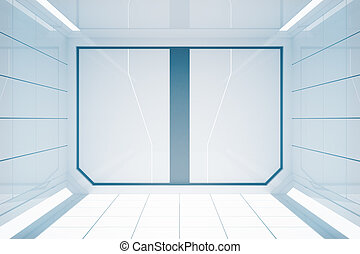 Bright futuristic interior with closed doors. 3D Rendering