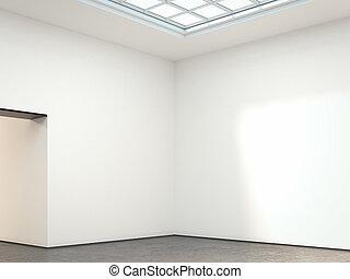 Bright gallery interior. 3d rendering