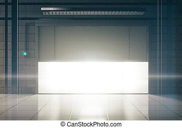 Bright garage with opening door