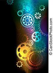 bright multicolored gears on a dark background.