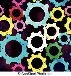 bright gears seamless abstract pattern