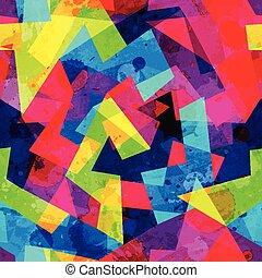 bright geometric seamless pattern with grunge effect