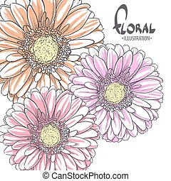 Bright gerbera on a white background - 3 bright gerbera for...