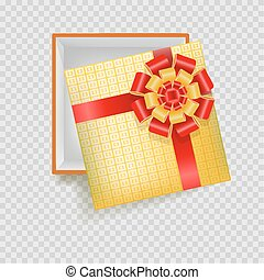 Bright gift box wrapped in checkered paper with red silk bow...