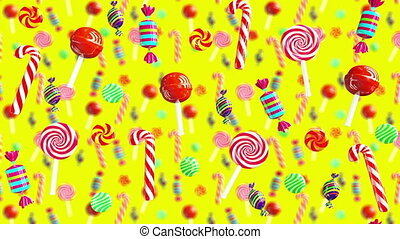 Bright glamour sweet juicy, delicious, tasty, yummy colorful food candies lollipop chupa chups caramel toffee sugar fall down 3d animation. High quality background 4K UHD. Candy on yellow.