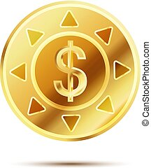 Bright glossy golden coin with dollar sign on white