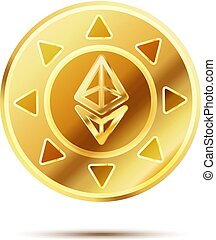Bright glossy golden coin with ethereum sign on white -...