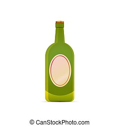 Bright glossy green beer bottle on white