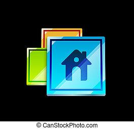 Bright glossy home icon