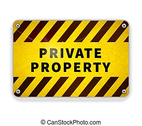 Bright glossy metal plate, private property warning sign template on white