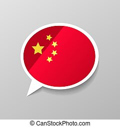 Bright glossy sticker in speech bubble shape with China flag, chinese language concept