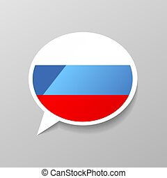 Bright glossy sticker in speech bubble shape with Russia flag, russian language concept