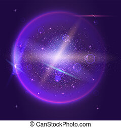 Bright glowing ball filled with particles and dust with shine and glow. The specks of light flying from the explosion. Space and cosmic theme. Dynamic technology backdrop for cover.