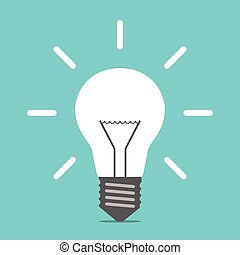 Bright white shining light bulb on blue background. Creative idea, innovation and inspiration concept. Flat design. EPS 8 vector illustration, no transparency