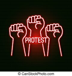 Bright Glowing Symbol On A Black Background. Neon Style Icon. the First Male Hand, A Symbol Of Proletarian Protest. Suitable For Printing Greeting Cards, Posters Or T-shirts.