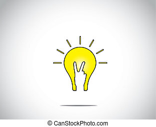 bright glowing yellow idea solution light bulb with young human victory winning hand gesture - the winning solution concept illustration artwork