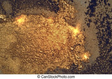 Bright gold and dark blue pattern with texture of geode and sparkles