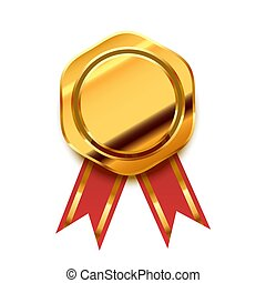Bright golden award with red tape, glossy winner badge on white