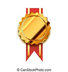 Bright golden badge with red tape, glossy winner award on white