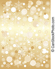 Bright golden christmas background with snow star