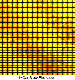 Bright golden square mosaic vector background.