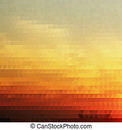 Bright Gradient Abstract Texture of Symmetric Triangles. Background of Geometric Shapes Colors of Sunrise Sky with Dust Shimmering. Geometric Concept.