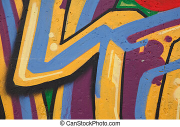 Bright graffiti on concrete wall. Abstract drawing. ?lose-up