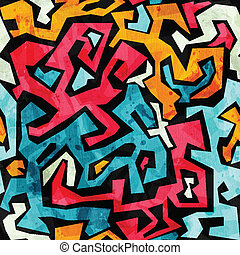 bright graffiti seamless pattern with grunge effect