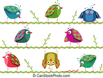 Bright Graphic Cartoon Birds Composition